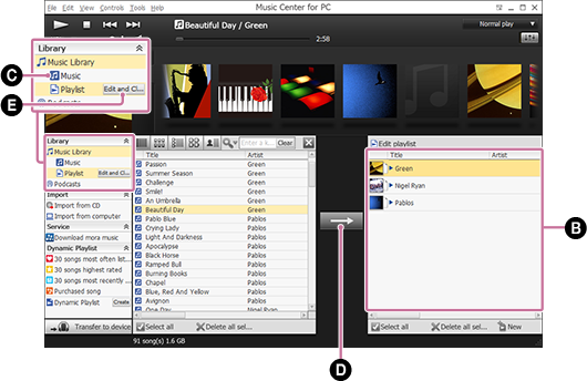 Screenshot of when a playlist is selected. For details on the procedure, refer to the body text.