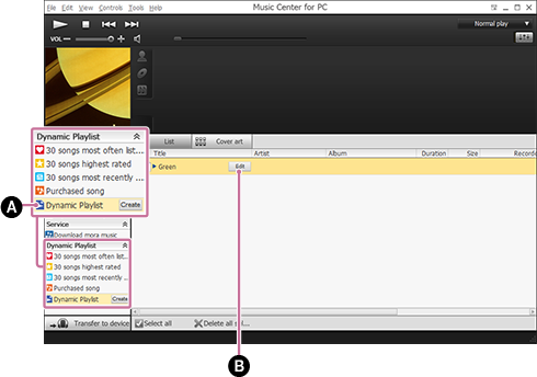 Screenshot of editing a [Dynamic Playlist]. For details on the procedure, refer to the body text.