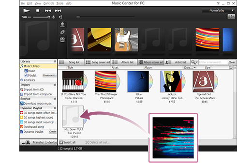 Drag and drop an image file into the photo area for each album, song, or artist.