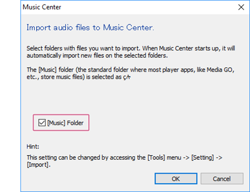 Dialogue: Import audio files to Music Center for PC.