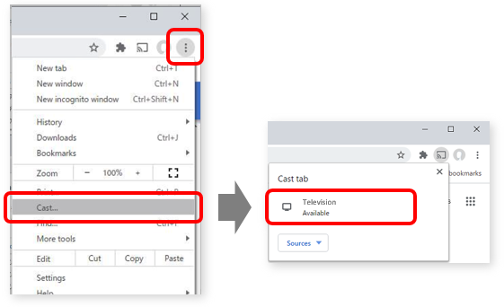 "Two side-by-side screenshots of the Google Chrome settings menu. The image on the right shows where to find the Settings/three-dot icon and the ""Cast"" option. The image on the left shows the ""Television Available"" option inside the Cast tab."