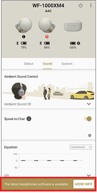 image of the Headphones Connect screen