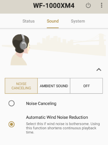 WF-1000XM4 - Screenshot of the Sony Headphones Connect app; the 'Sound' and 'Noise Canceling' tabs are open. 'Noise Canceling' is unchecked (Off) and 'Automatic Wind Noise Reduction' is checked (On).