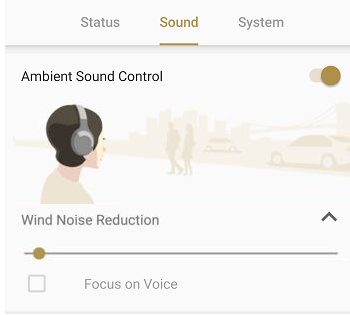 WF-1000XM3 - Sony Headphones Connect app; the 'Sound' and 'Ambient Sound Control' tabs are open. The 'Wind Noise Reduction' slide bar is in the bottom part of the screen.