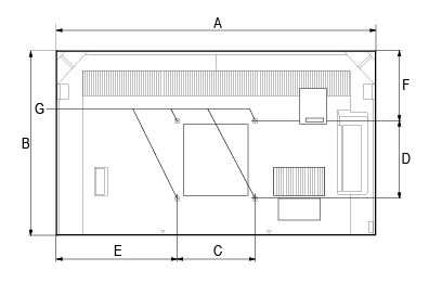 TV dimensions labeled from A through G