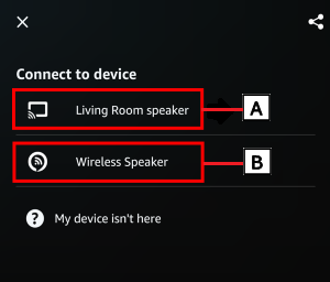 image indicating the device name in the Amazon Music app