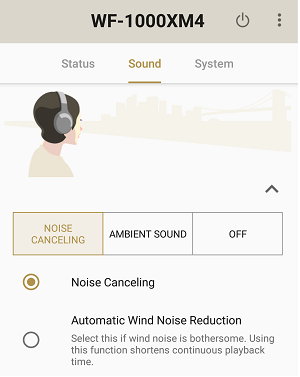 Image that Noise Canceling is selected (WF-1000XM4)