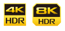Images of 4K/HDR icon and 8K/HDR icon