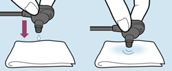 side by side diagram showing water in the earbud and then tapping the earbud gently on a cloth to remove excess water