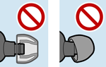 side by side diagram of examples with earbud tip loosely on the earbud and attached sideways