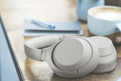 Sony noise-canceling headphones with BLUETOOTH on desk