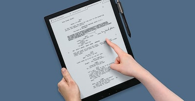Image of the Digital Paper product showing touchscreen interactions