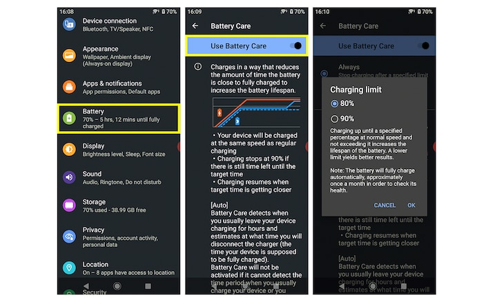Screenshots of the Xperia Battery Care pages