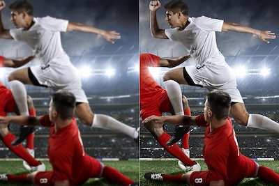 Two images comparing picture quality of player jumping over another player's tackle