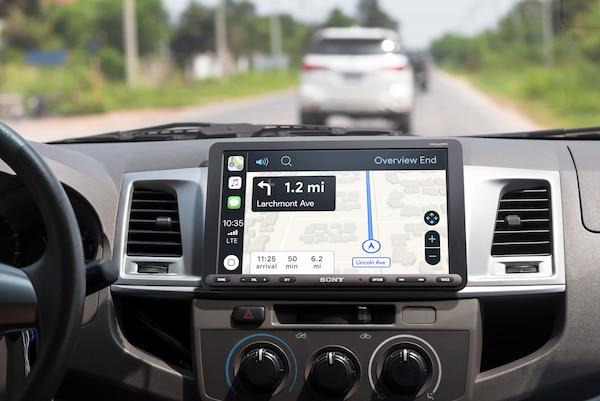 XAV-AX8000 displaying directions with Apple CarPlay