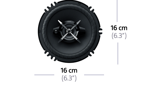 "Dimensions of 16cm (6.3"") 3-Way High Power Coaxial Speaker"