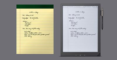 Image of Digital Paper product compared to the size of a legal notebook