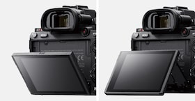 Image pair showing rear view of camera with LCD screen tilted down (left) and up