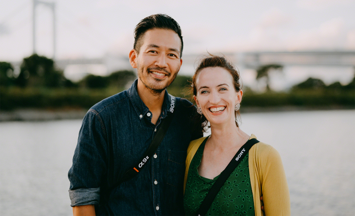 Portrait of Ippei & Janine at waterside location