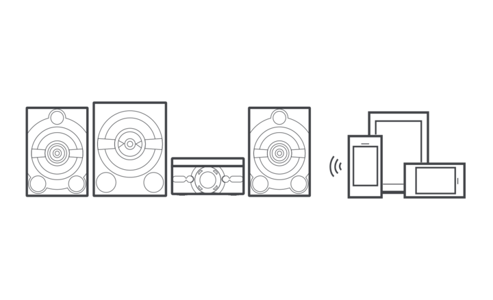 Graphic image showing MHC-M80D speaker system and connected devices