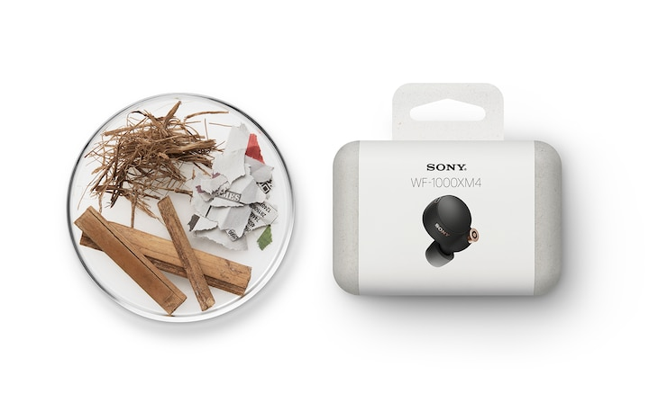 Image of WF-1000XM4 packaging alongside a selection of sustainable packaging materials