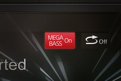 Picture of screen saying 'mega bass on'