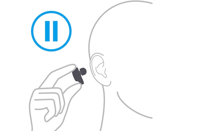 Illustration of person removing an earbud from their ear