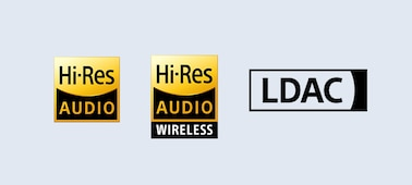 Hi-Res Audio, Hi-Res Audio Wireless and LDAC logos