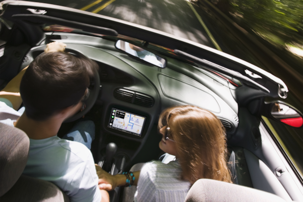 XAV-AX3000 displaying directions with Apple CarPlay