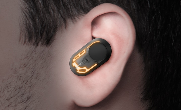 Image illustrating WF-1000XM3 earbuds' optimised antenna design.