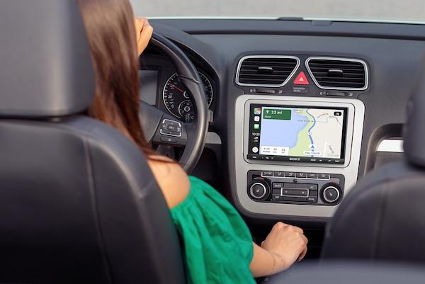 XAV-AX7000 displaying directions with Apple CarPlay