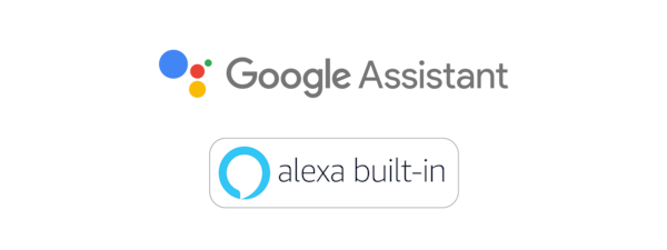 Google Assistant and Amazon Alexa logos.