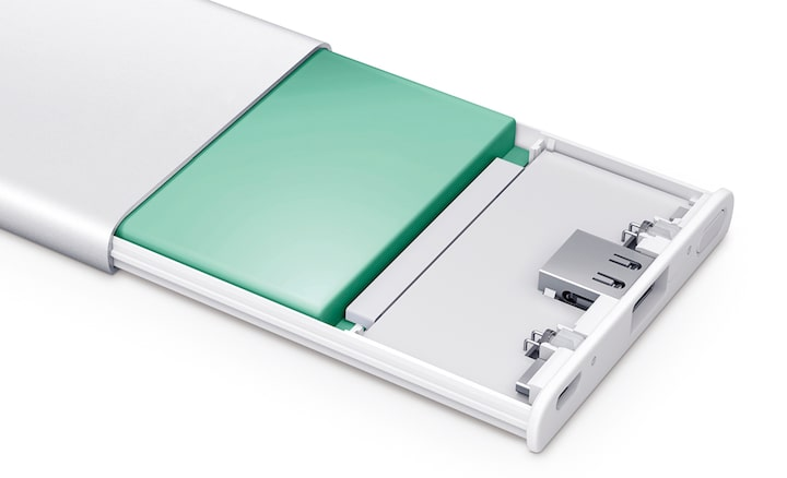 Sony portable charger's gel polymer battery.