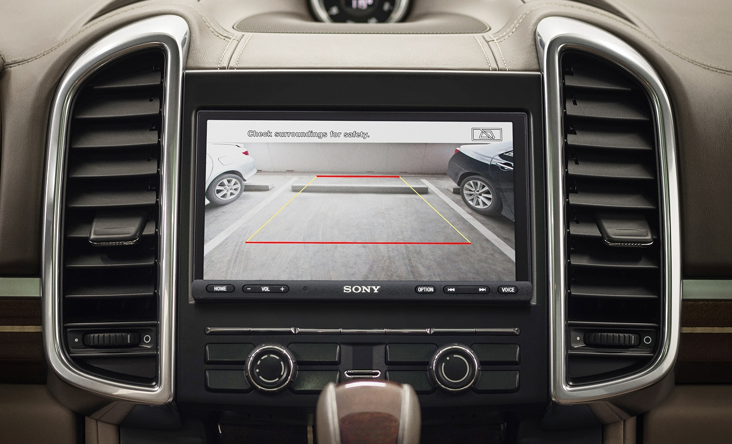 Image showing rear view camera feed with parking guidelines