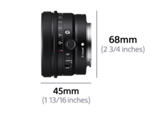 "Lens left view with dimension Width 1.77 "" (45 mm) and Height 2.68 "" (68 mm)"