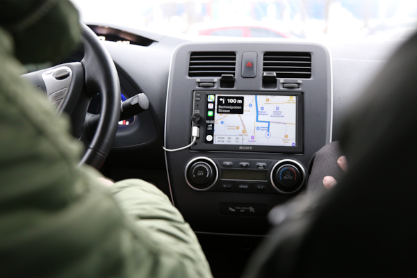 XAV-AX1000 displaying directions with Apple CarPlay