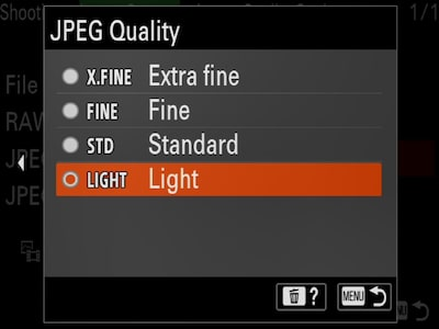 """JPEG Quality"" camera menu with cursor on ""Light"""