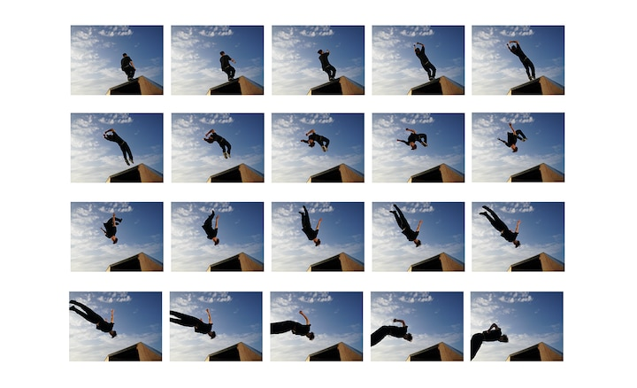 Multiple burst shooting images of person doing a backflip.