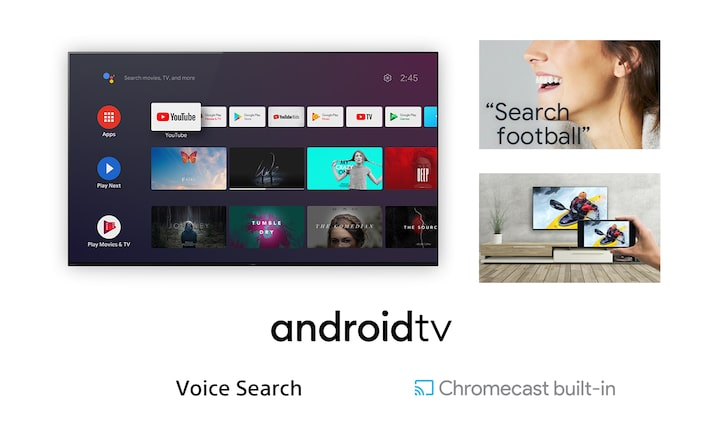 Images showing Android TV screenshot, woman using Voice Search to search for football content, and casting of smartphone content to TV using Chromecast