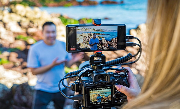 Live streaming video content using the Xperia PRO mounted on a camera