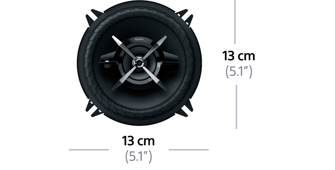 "Dimensions of 13cm (5.1"") 3-Way High Power Coaxial Speakers"