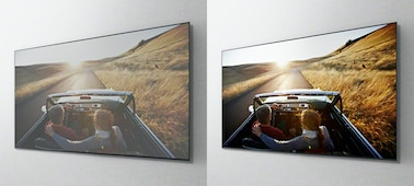 Overhead images of a car driving on a road on separate TV screens, showing the benefit of the X-Wide Angle panel.