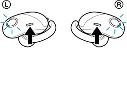 An illustration of the left and right headphones of WF-1000X
