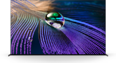 TV screen showing OLED picture detail in a water droplet and feathers