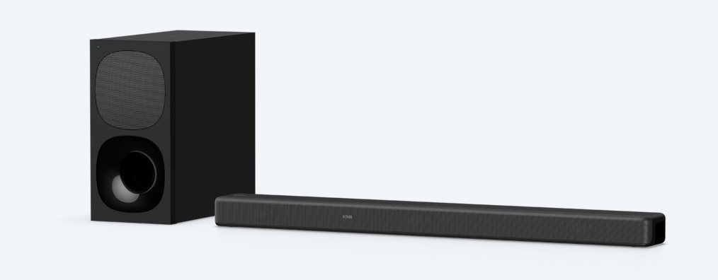 Angled product shot of HT-G700 sound bar and wireless subwoofer