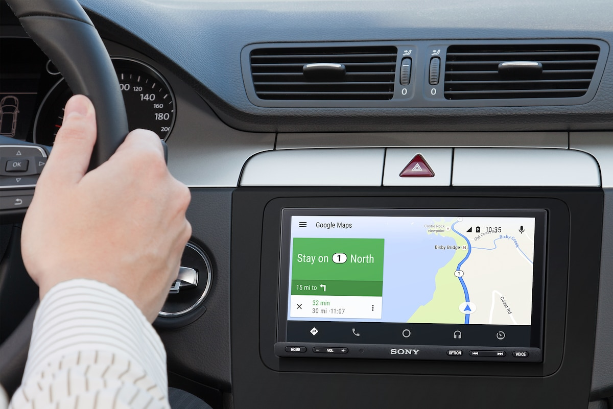 XAV-AX7000 displaying directions with Android Auto