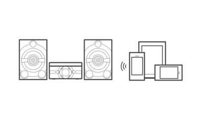Graphic image showing MHC-M40D speaker system and connected devices