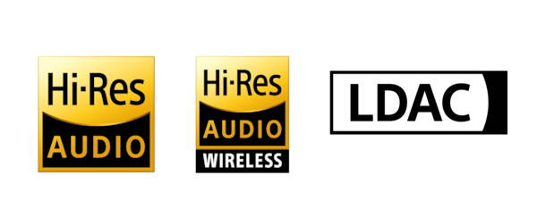 Logos for Hi-Res Audio, Hi-Res Audio Wireless, and LDAC.
