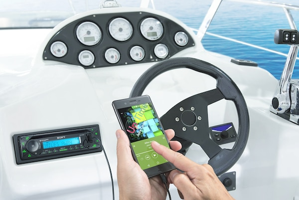 Smartphone connected to the MEX-M72BT in a boat deck