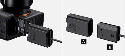 Supply power to a camera compatible with Z- or W-series battery